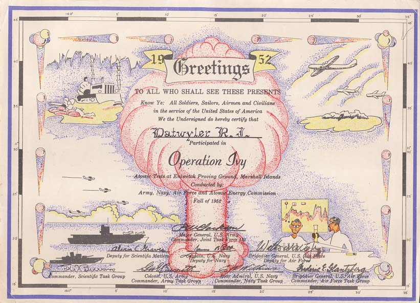 Operation Ivy Certificate - 1952